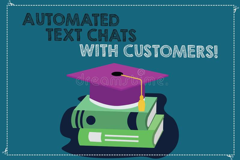 Κείμενο γραφής που γράφει τις αυτοματοποιημένες συνομιλίες κειμένων με τους πελάτες Έννοια που σημαίνει το χρώμα συνομιλίας BOT τ απεικόνιση αποθεμάτων