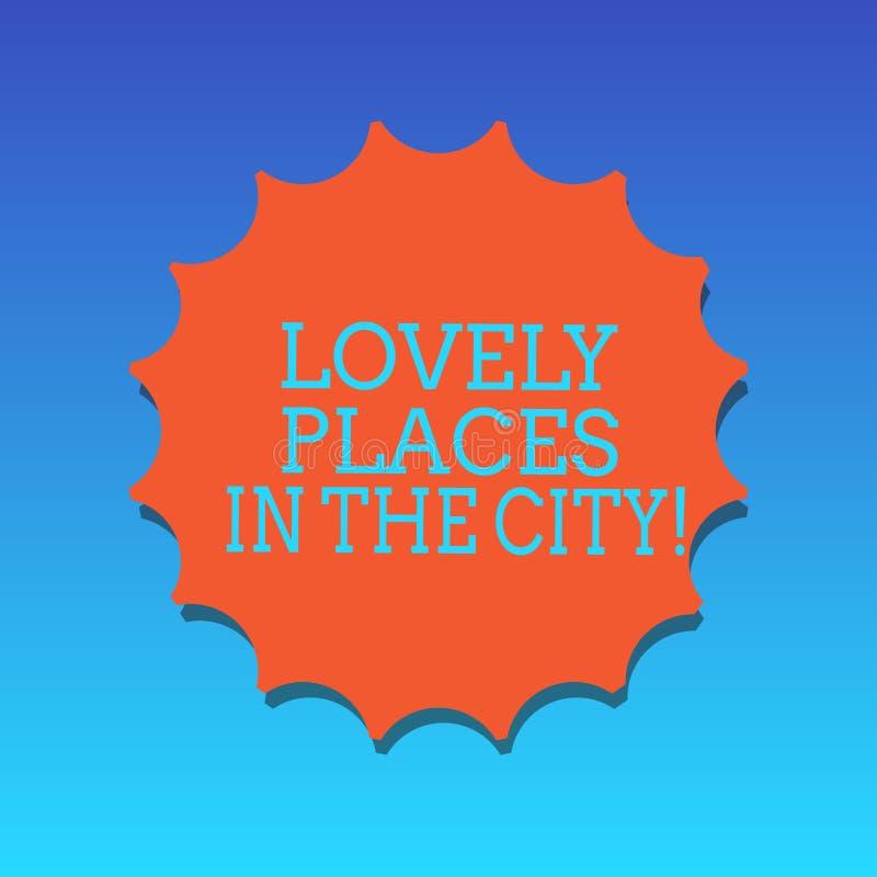 Κείμενο γραφής που γράφει τις καλές θέσεις στην πόλη Έννοια που σημαίνει την όμορφη κενή σφραγίδα κτηρίων αρχιτεκτονικής ορόσημων διανυσματική απεικόνιση