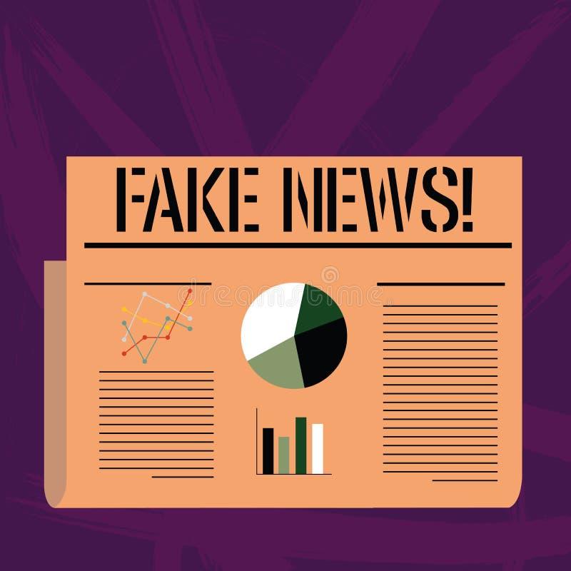 Κείμενο γραφής που γράφει τις πλαστές ειδήσεις Έννοια που σημαίνει τις ψεύτικες ιστορίες που εμφανίζονται να διαδίδουν στο διαδίκ διανυσματική απεικόνιση