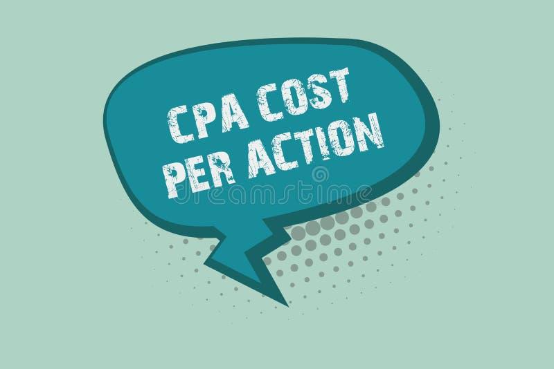 Κείμενο γραφής που γράφει το κόστος Cpa ανά δράση Η έννοια που σημαίνει την Επιτροπή πλήρωσε πότε ο χρήστης χτυπά σε μια σύνδεση  ελεύθερη απεικόνιση δικαιώματος