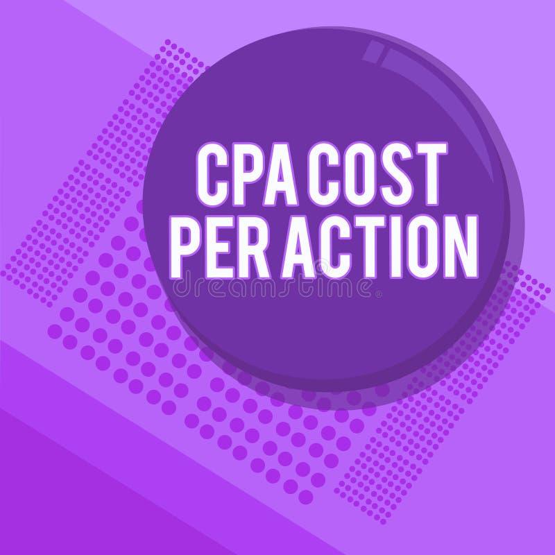Κείμενο γραφής που γράφει το κόστος Cpa ανά δράση Η έννοια που σημαίνει την Επιτροπή πλήρωσε πότε ο χρήστης χτυπά σε μια σύνδεση  διανυσματική απεικόνιση