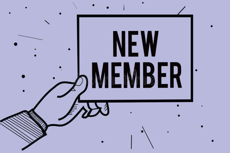 Κείμενο γραφής που γράφει το νέο μέλος Έννοια που σημαίνει προσλαμβάνοντας τον υπάλληλο στη γέννηση επιχείρησης ή ομάδων της φρέσ διανυσματική απεικόνιση