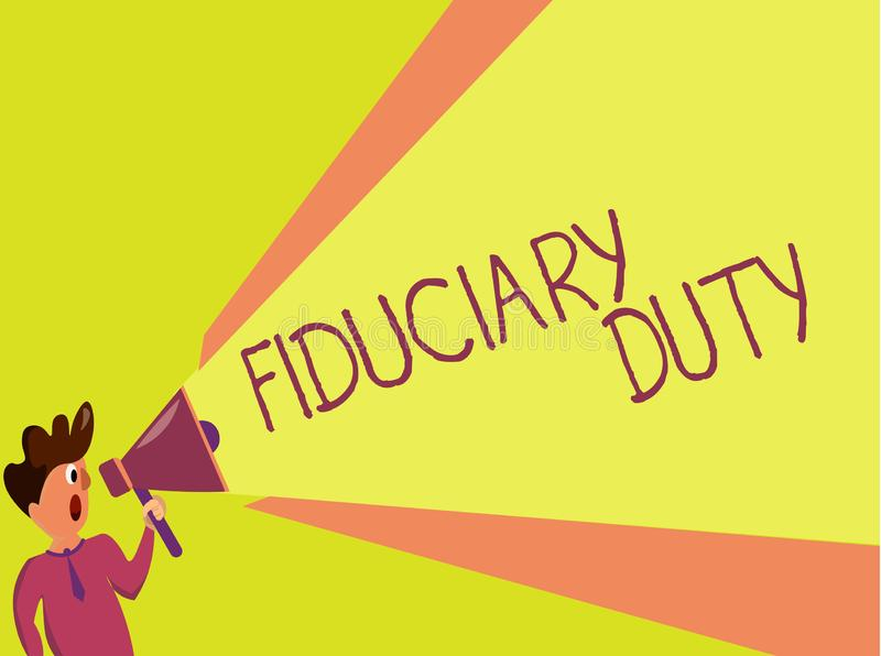 Κείμενο γραφής που γράφει το πιστωτικό καθήκον Έννοια που σημαίνει τη νομική υποχρέωση Α να ενεργήσει στο συμφέρον άλλο διανυσματική απεικόνιση