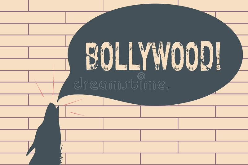 Κείμενο γραφής που γράφει Bollywood Έννοια που σημαίνει την ινδική δημοφιλή κινηματογραφία Mumbai βιομηχανίας κινηματογράφων ταιν ελεύθερη απεικόνιση δικαιώματος