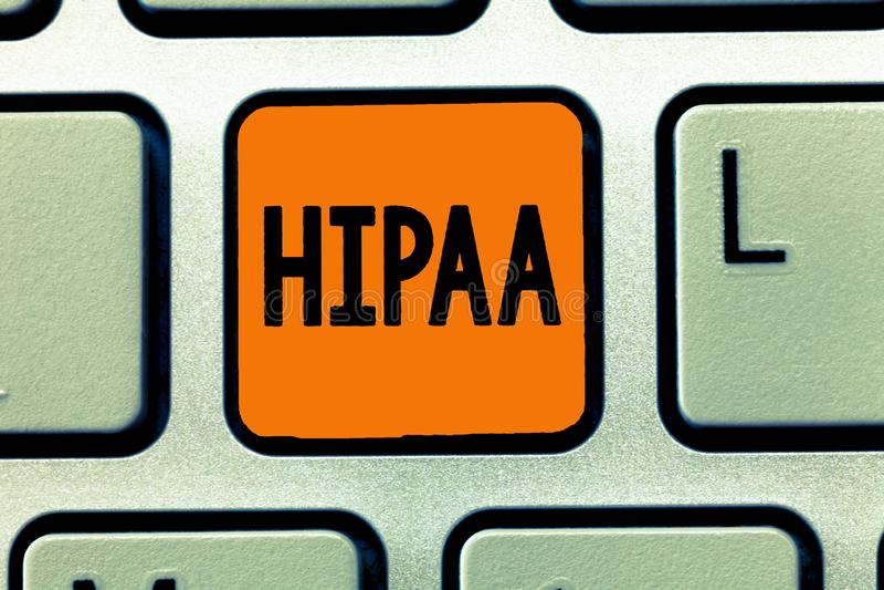 Κείμενο γραφής που γράφει Hipaa Έννοια που σημαίνει τις στάσεις αρκτικολέξων για την υπευθυνότητα φορητότητας ασφάλειας υγείας στοκ φωτογραφία