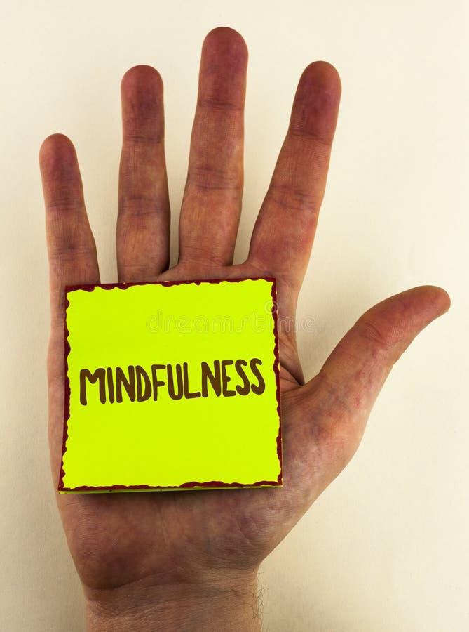 Κείμενο γραφής που γράφει Mindfulness Η σημασία έννοιας που είναι συνειδητή ηρεμία συνειδητοποίησης δέχεται τις σκέψεις και τα συ στοκ φωτογραφία με δικαίωμα ελεύθερης χρήσης