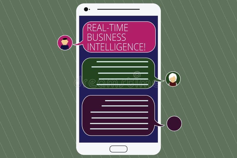 Κείμενο γραφής πραγματικό - χρονική επιχειρηματική κατασκοπεία Έννοια που σημαίνει τις πληροφορίες για την κινητή οθόνη αγγελιοφό διανυσματική απεικόνιση