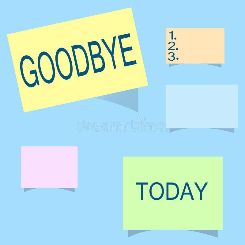 Κείμενο γραψίματος λέξης αντίο Η επιχειρησιακή έννοια για το χαιρετισμό για την αναχώρηση αποχαιρετιστήριος σας βλέπει σύντομα το απεικόνιση αποθεμάτων