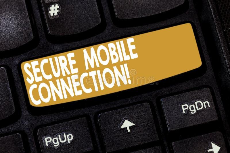 Κείμενο γραψίματος λέξης ασφαλής κινητή σύνδεση Επιχειρησιακή έννοια για κρυπτογραφημένος από το πληκτρολόγιο ενός ή περισσότερων στοκ φωτογραφία με δικαίωμα ελεύθερης χρήσης
