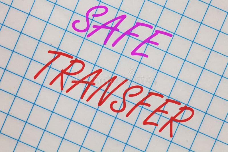 Κείμενο γραψίματος λέξης ασφαλής μεταφορά Η επιχειρησιακή έννοια για το καλώδιο μεταφέρει ηλεκτρονικά τη μη σε χαρτί συναλλαγή τα στοκ εικόνες με δικαίωμα ελεύθερης χρήσης