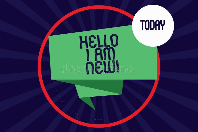 Κείμενο γραψίματος λέξης γειά σου είμαι νέος Η επιχειρησιακή έννοια για την εισαγωγή στην άγνωστη παρουσίαση newbie στην ομάδα δί διανυσματική απεικόνιση