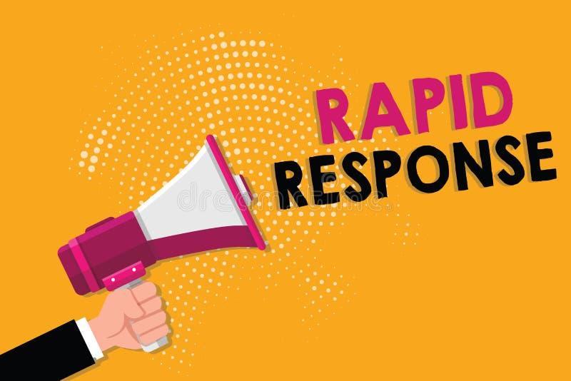 Κείμενο γραψίματος λέξης γρήγορη απάντηση Επιχειρησιακή έννοια για την ιατρική γρήγορη βοήθεια ομάδων έκτακτης ανάγκης κατά τη δι ελεύθερη απεικόνιση δικαιώματος