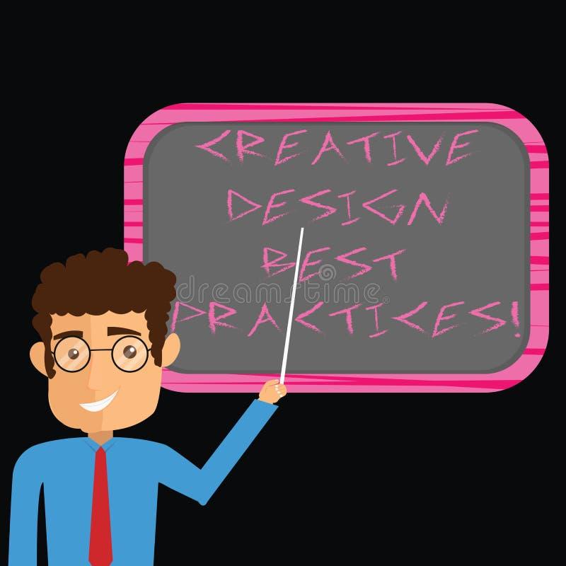 Κείμενο γραψίματος λέξης δημιουργικές καλύτερες πρακτικές σχεδίου Επιχειρησιακή έννοια για το υψηλό άτομο ιδεών perforanalysisce  απεικόνιση αποθεμάτων