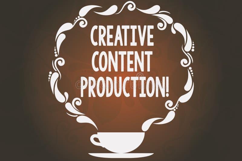 Κείμενο γραψίματος λέξης δημιουργική ικανοποιημένη παραγωγή Επιχειρησιακή έννοια για την ανάπτυξη και τη δημιουργία του οπτικού ή ελεύθερη απεικόνιση δικαιώματος