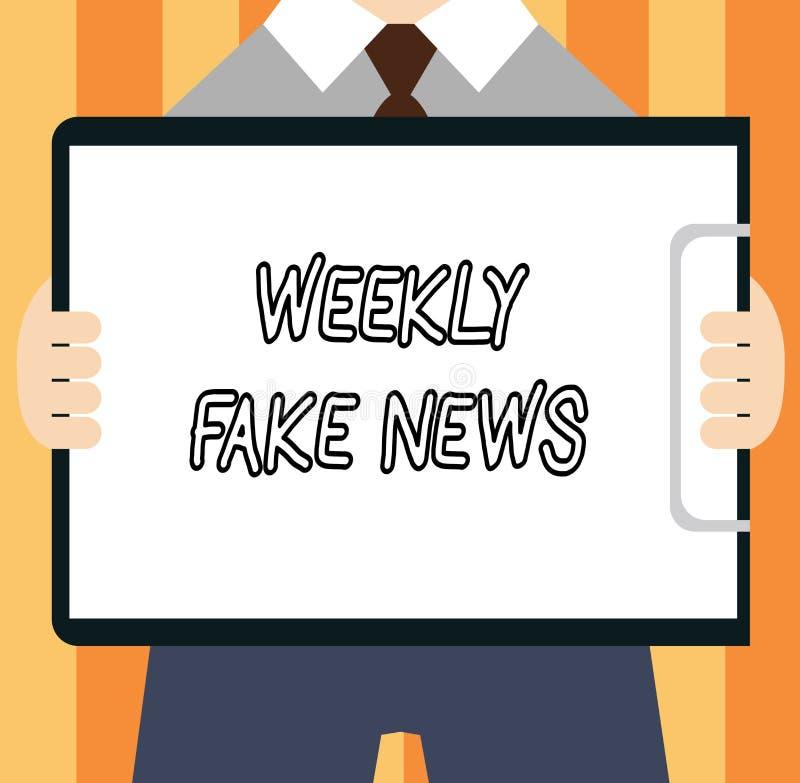 Κείμενο γραψίματος λέξης εβδομαδιαίες πλαστές ειδήσεις Επιχειρησιακή έννοια για την ανακριβή, sensationalistic έκθεση που δημιουρ διανυσματική απεικόνιση
