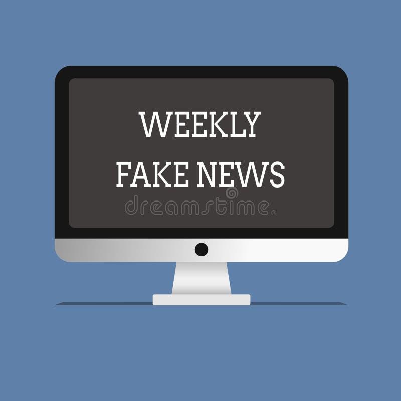 Κείμενο γραψίματος λέξης εβδομαδιαίες πλαστές ειδήσεις Επιχειρησιακή έννοια για την ανακριβή, sensationalistic έκθεση που δημιουρ απεικόνιση αποθεμάτων
