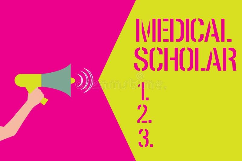 Κείμενο γραψίματος λέξης ιατρικός μελετητής Επιχειρησιακή έννοια για μια μαθημένη επίδειξη με τη βαθιά γνώση φαρμάκου διανυσματική απεικόνιση