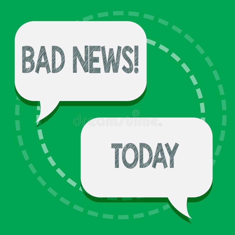Κείμενο γραψίματος λέξης κακές ειδήσεις Η επιχειρησιακή έννοια για το ανεπιθύμητο πρόβλημα πράγματος ή επίδειξης hust συνέβη σε κ διανυσματική απεικόνιση