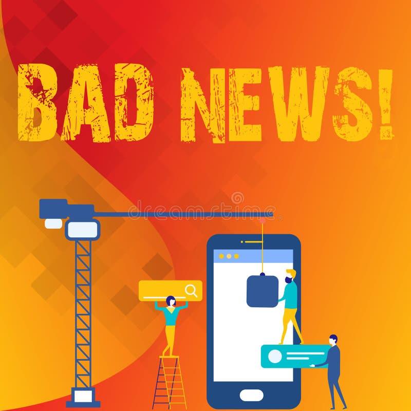 Κείμενο γραψίματος λέξης κακές ειδήσεις Η επιχειρησιακή έννοια για το ανεπιθύμητο πρόβλημα πράγματος ή επίδειξης hust συνέβη σε κ απεικόνιση αποθεμάτων