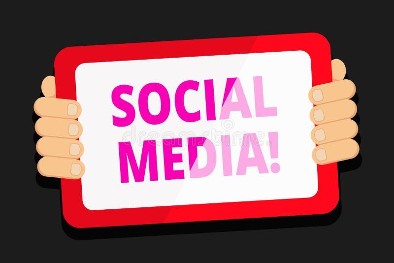 Κείμενο γραψίματος λέξης κοινωνικό MEDIA Η επιχειρησιακή έννοια για τους ιστοχώρους και οι εφαρμογές επιτρέπουν στους χρήστες δημ διανυσματική απεικόνιση