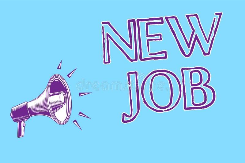 Κείμενο γραψίματος λέξης νέα θέση Επιχειρησιακή έννοια για την υπογραφή της σύμβασης που βρίσκει την ευκαιρία εργασίας τον καλύτε διανυσματική απεικόνιση