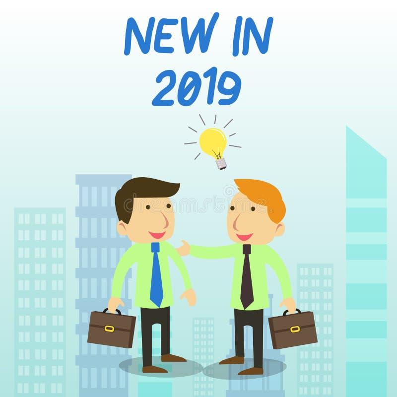 Κείμενο γραψίματος λέξης νέο το 2019 Επιχειρησιακή έννοια για αυτό που θα αναμένει ή νέα δημιουργία για το λευκό δύο έτους 2019 διανυσματική απεικόνιση