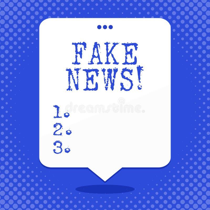 Κείμενο γραψίματος λέξης πλαστές ειδήσεις Επιχειρησιακή έννοια για τις ψεύτικες ιστορίες που εμφανίζονται να διαδίδουν στο διαδίκ διανυσματική απεικόνιση