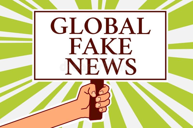 Κείμενο γραψίματος λέξης σφαιρικές πλαστές ειδήσεις Η επιχειρησιακή έννοια για την ψεύτικη δημοσιογραφία πληροφοριών βρίσκεται ει διανυσματική απεικόνιση