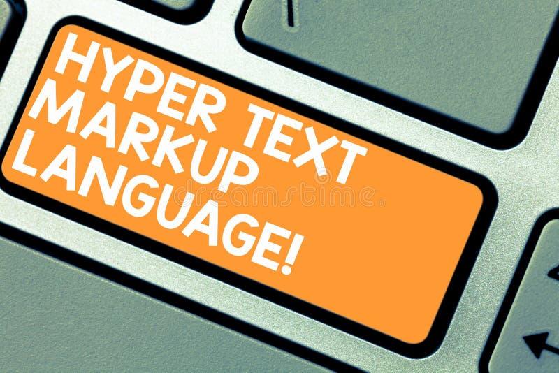 Κείμενο γραψίματος λέξης υπερβολική γλώσσα σήμανσης κειμένων Επιχειρησιακή έννοια για τις τυποποιημένες γλώσσες για τη δημιουργία στοκ εικόνες με δικαίωμα ελεύθερης χρήσης