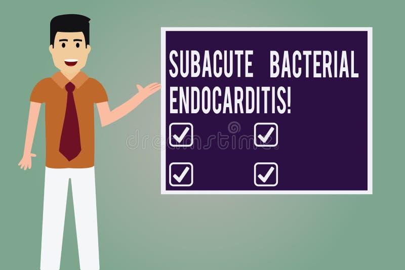 Κείμενο γραψίματος λέξης Subacute βακτηριακό Endocarditis Επιχειρησιακή έννοια για τη μόλυνση της εσωτερικής επένδυσης του ατόμου ελεύθερη απεικόνιση δικαιώματος