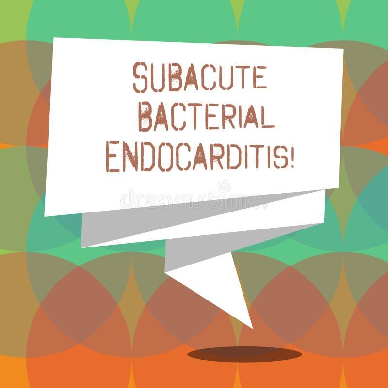 Κείμενο γραψίματος λέξης Subacute βακτηριακό Endocarditis Επιχειρησιακή έννοια για τη μόλυνση της εσωτερικής επένδυσης της καρδιά απεικόνιση αποθεμάτων