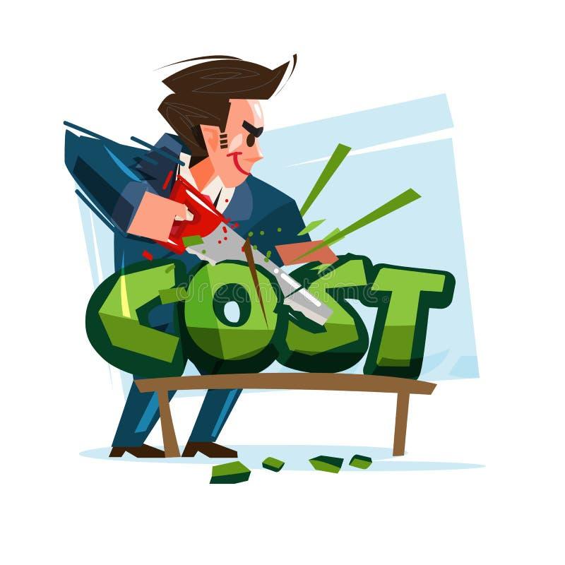 Κείμενο δαπανών κοπής επιχειρηματιών - διάνυσμα απεικόνιση αποθεμάτων