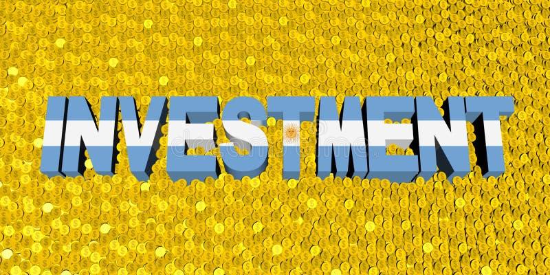 Κείμενο επένδυσης με τη σημαία της Αργεντινής στην απεικόνιση νομισμάτων ελεύθερη απεικόνιση δικαιώματος