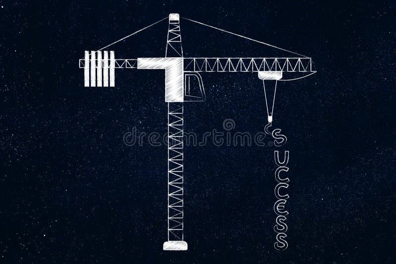 Κείμενο επιτυχίας που είναι κατασκευή από έναν γερανό πύργων απεικόνιση αποθεμάτων