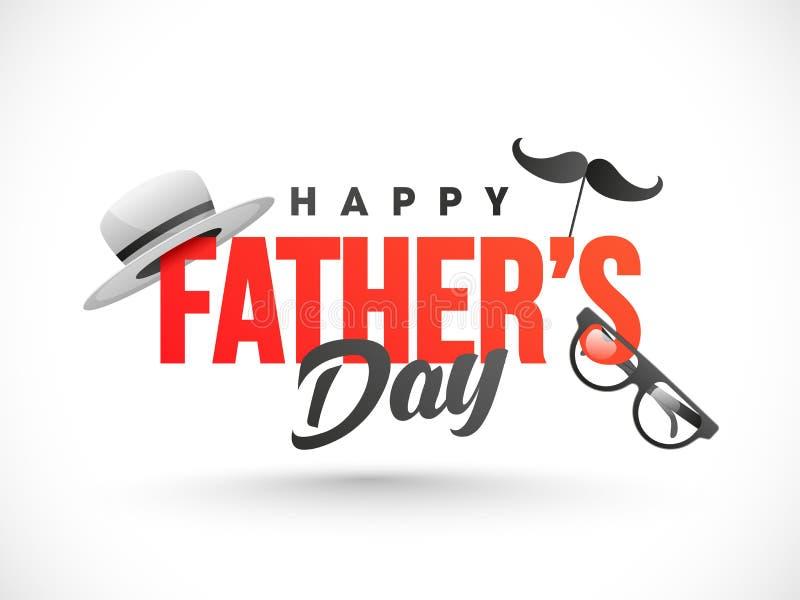 Κείμενο ημέρας του ευτυχούς πατέρα που διακοσμείται με το καπέλο, moustache μάσκα και eyeglasses διανυσματική απεικόνιση