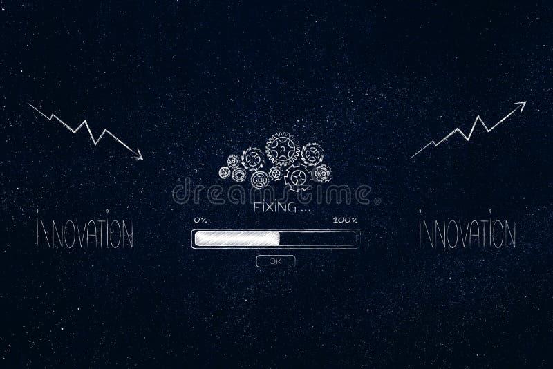 Κείμενο καινοτομίας με gearwheel το μηχανισμό και το φραγμό προόδου fixin στοκ εικόνες