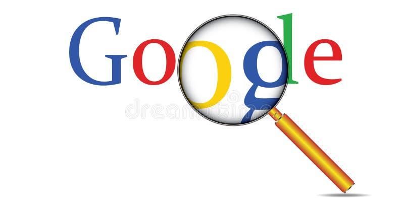 Κείμενο και ενίσχυση Google αναζήτησης Διαδικτύου Ιστού - γυαλί διανυσματική απεικόνιση