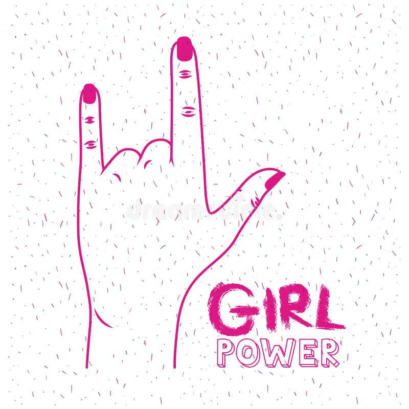 Κείμενο και χέρι αφισών δύναμης κοριτσιών που κάνουν το σήμα κέρατων στη ροδανιλίνη σκιαγραφιών διανυσματική απεικόνιση