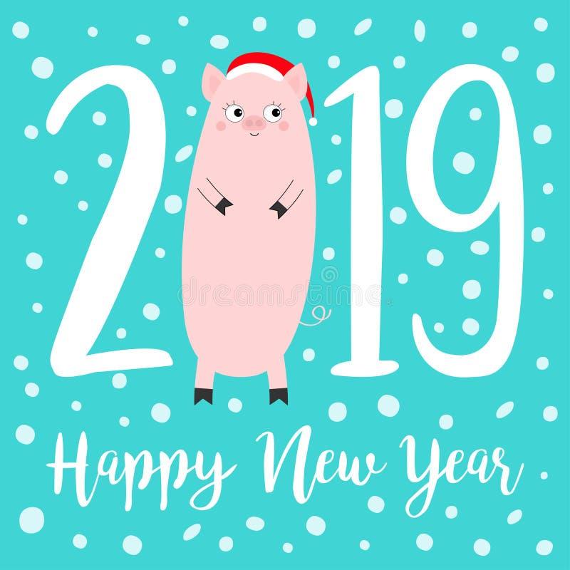 Κείμενο καλής χρονιάς 2019 Χαριτωμένος παχύς χοίρος Καπέλο Santa Ρόδινο piggy χοιρίδιο Νιφάδα χιονιού Σύμβολο Chinise Αστείο χαμό ελεύθερη απεικόνιση δικαιώματος