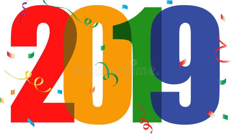 Κείμενο καλής χρονιάς 2019 διανυσματική απεικόνιση