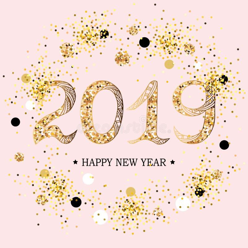 2019 κείμενο καλής χρονιάς απεικόνιση αποθεμάτων