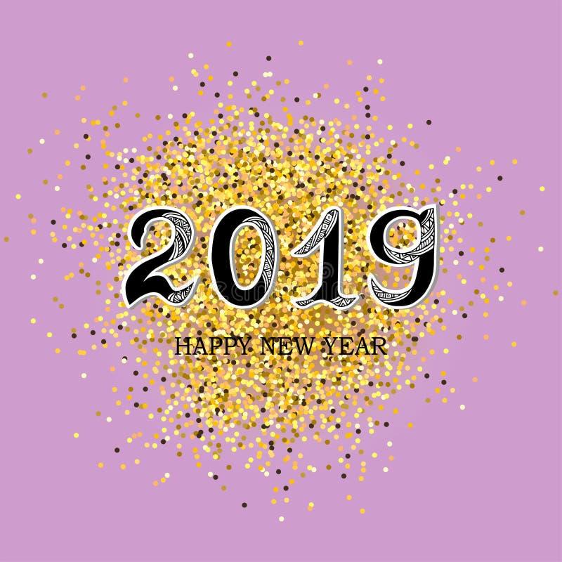 2019 κείμενο καλής χρονιάς διανυσματική απεικόνιση