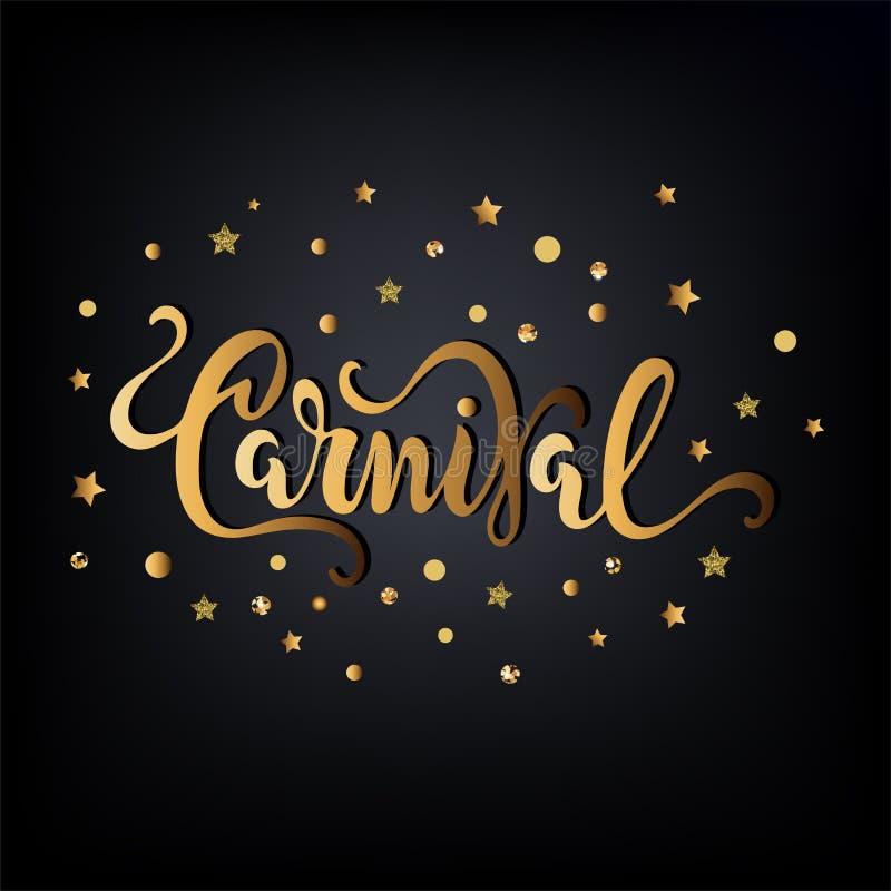 Κείμενο καρναβαλιού ως logotype, διακριτικό, μπάλωμα, εικονίδιο που απομονώνεται στο μαύρο υπόβαθρο διανυσματική απεικόνιση