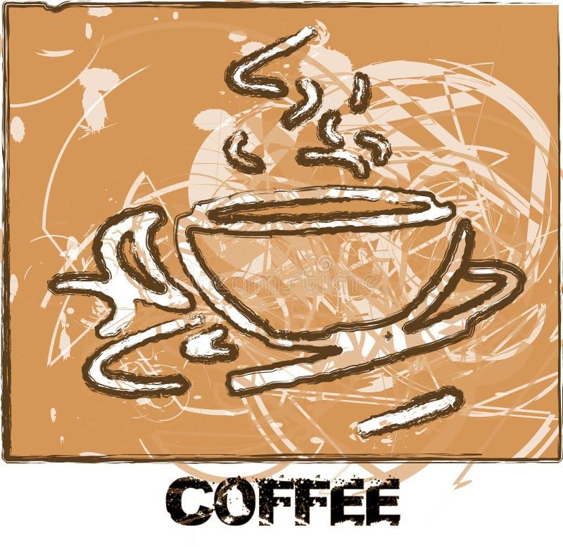 Κείμενο καφέ εμβλημάτων καφέ Grunge διανυσματική απεικόνιση