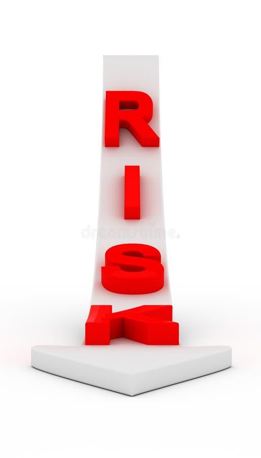 Κείμενο κινδύνου στο άσπρο βέλος διανυσματική απεικόνιση