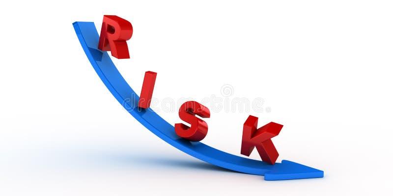 Κείμενο κινδύνου στο μπλε βέλος διανυσματική απεικόνιση