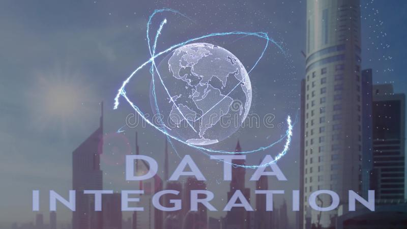 Κείμενο ολοκλήρωσης στοιχείων με το τρισδιάστατο ολόγραμμα του πλανήτη Γη ενάντια στο σκηνικό της σύγχρονης μητρόπολης ελεύθερη απεικόνιση δικαιώματος