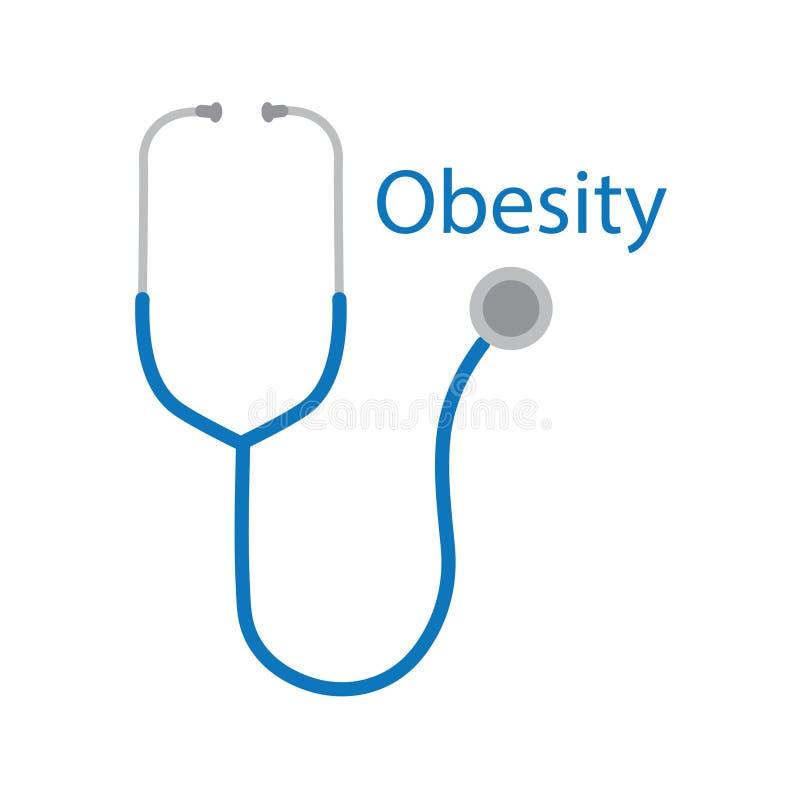 Κείμενο παχυσαρκίας και εικονίδιο στηθοσκοπίων ελεύθερη απεικόνιση δικαιώματος