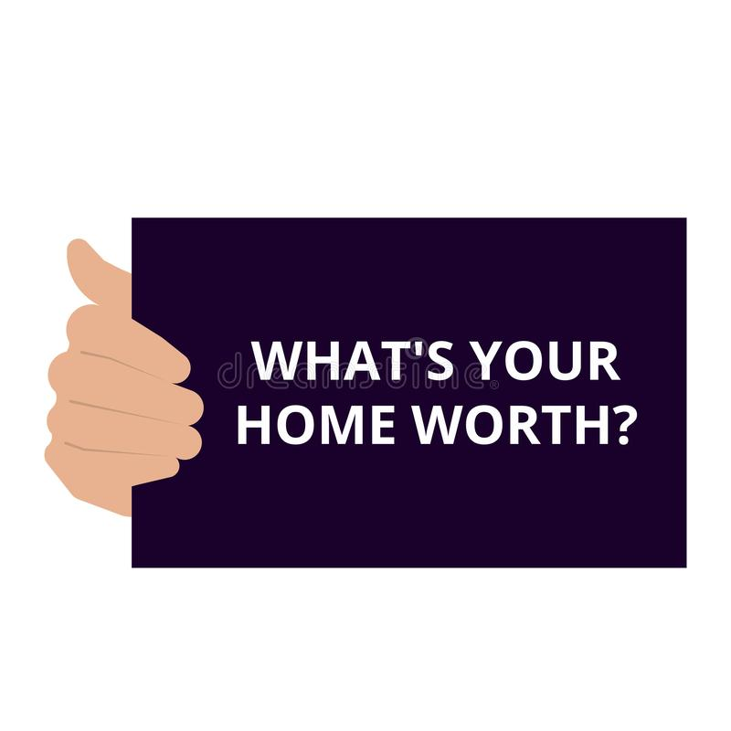 κείμενο που γράφει ποιο s είναι το σπίτι σας αξίας της ερώτησης διανυσματική απεικόνιση
