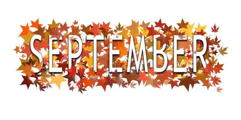 Κείμενο Σεπτεμβρίου, λέξη που τυλίγεται μέσα και που βάζουν σε στρώσεις με τα φθινοπωρινά φύλλα η ανασκόπηση απομόνωσε το λευκό στοκ φωτογραφία με δικαίωμα ελεύθερης χρήσης
